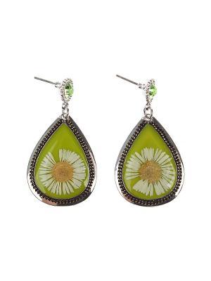 Серьги Olere. Цвет: зеленый, серебристый, желтый, белый