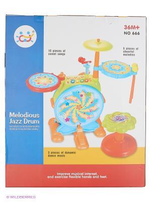 Игрушка Музыкальный центр с барабанной установкой HUILE. Цвет: голубой, зеленый, красный