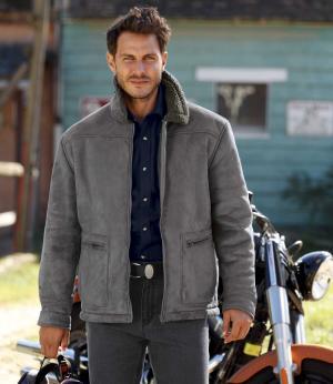 Замшевая Куртка с Подкладкой из Шерпы AFM. Цвет: серыи