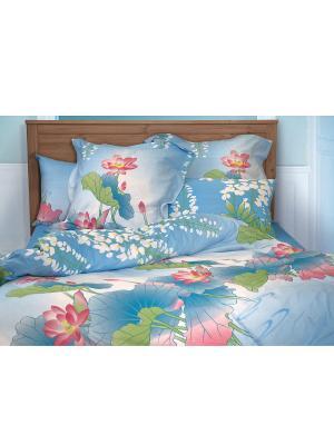 Постельное белье Кувшинки Тет-а-Тет. Цвет: голубой, фуксия, белый, зеленый