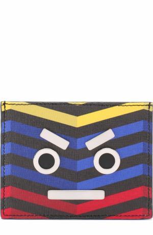 Кожаный футляр для кредитных карт с принтом и отделкой Fendi. Цвет: разноцветный
