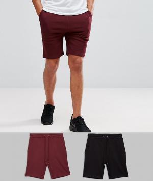 ASOS 2 пары узких трикотажных шортов (черные, бордовые). Цвет: мульти
