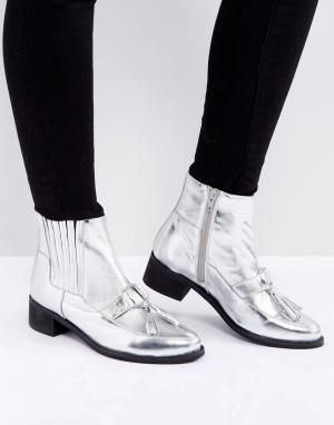 Park Lane Кожаные ботинки с кисточками и эффектом металлик. Цвет: серебряный