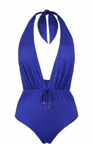 Однотонный слитный купальник с драпировкой Lazul. Цвет: синий