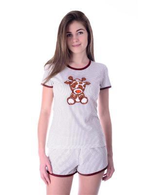 Пижама Малина. Цвет: коричневый, молочный