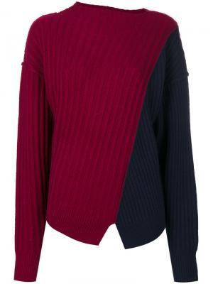 Ребристый свитер в стиле колор блок Michel Klein. Цвет: красный