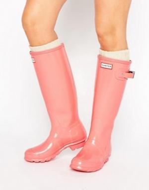 Hunter Розовые высокие глянцевые резиновые сапоги Original. Цвет: розовый