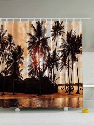 Фотоштора для ванной Оранжевые закаты, 180*200 см Magic Lady. Цвет: бежевый, оранжевый, желтый, белый, черный, коричневый, светло-серый