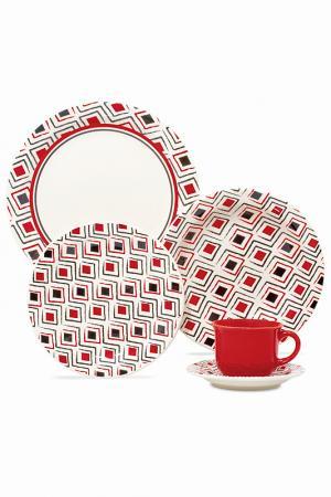 Набор столовый МАРАХО 20 пр. Biona. Цвет: белый, красный