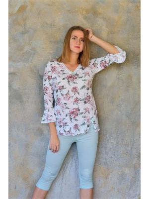 Пижама,капри и кофта Весталия. Цвет: оливковый, белый