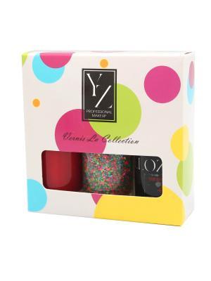 Набор лаков для ногтей YLLOZURE (гель-лак+ закрепляющее средство+ фактурный лак Карнавал) ИЛЛОЗУР. Цвет: прозрачный, белый, красный, розовый