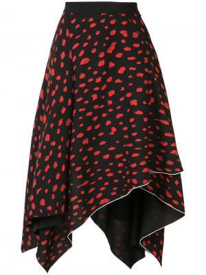Асимметричная юбка с леопардовым принтом Proenza Schouler. Цвет: чёрный