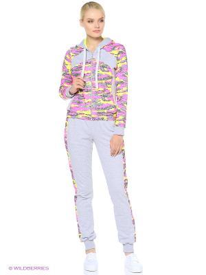 Спортивный костюм FORLIFE. Цвет: серый, розовый, желтый