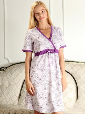Сорочка 2 в 1 (для беременных и для кормления) Nuova Vita. Цвет: лиловый, фиолетовый