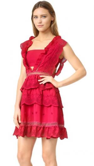 Платье с трехуровневой юбкой Self Portrait. Цвет: красный