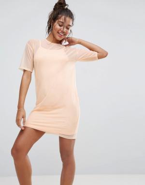 ASOS Платье-футболка из сетки. Цвет: оранжевый