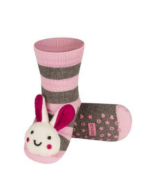 Носки детские с игрушкой Soxo. Цвет: серый, бледно-розовый