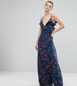 Fashion Union Tall Платье на бретельках с открытыми плечами, оборкой и принтом Un. Цвет: мульти