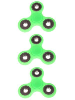 Спиннер с черными вставками однотонный, зеленый, набор 3 штуки Радужки. Цвет: зеленый