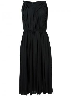 Платье со складками Stefano Mortari. Цвет: чёрный