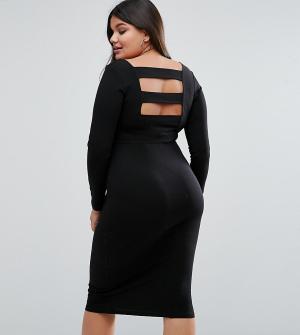 ASOS Curve Платье миди с длинными рукавами и полосками на спине. Цвет: черный