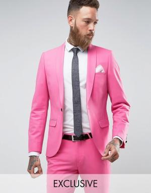 Noose & Monkey Супероблегающий пиджак. Цвет: розовый