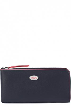 Кожаный бумажник на молнии Tod's. Цвет: темно-синий