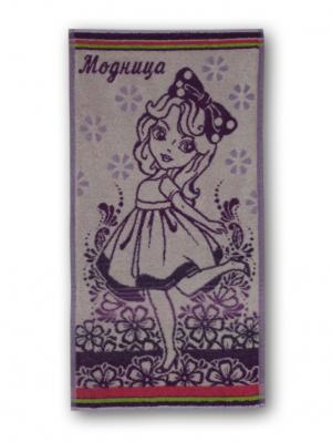 Полотенце махровое пестротканое жаккардовое 70x40см Модница Авангард. Цвет: фиолетовый