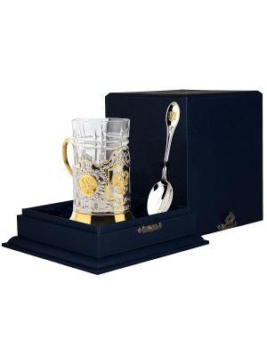 Набор для чая Герб РФ(подстаканник+стакан+серебряная ложка)+футляр АргентА. Цвет: золотистый, серебристый
