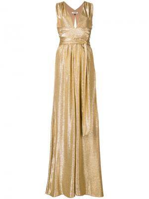 Длинное блестящее платье Halston Heritage. Цвет: металлический