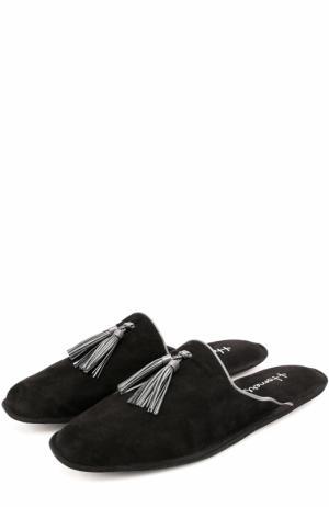 Замшевые домашние туфли без задника Homers At Home. Цвет: черный