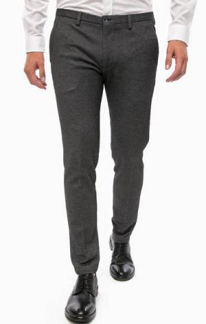 Зауженные брюки из хлопка Cinque. Цвет: серый