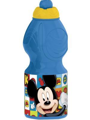 Бутылка пластиковая (спортивная, фигурная, 400 мл). Микки Маус Символы Stor. Цвет: синий