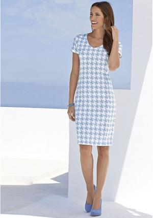 Платье Maria Bellesi. Цвет: белый/голубой с рисунком
