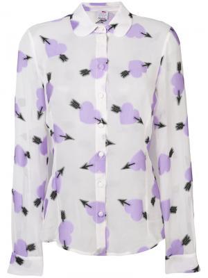 Блузка с узором в виде сердец Ultràchic. Цвет: белый
