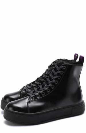 Высокие кожаные кеды Kibo на шнуровке Eytys. Цвет: черный