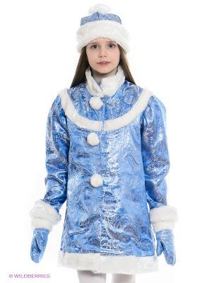 Карнавальный костюм Снегурочка Волшебный мир. Цвет: синий, белый, голубой