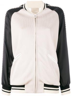 Куртка-бомбер с вышитым орлом Laneus. Цвет: телесный