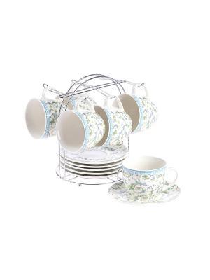 Набор чайный 12 предметов 240 мл. на металлической подставке PATRICIA. Цвет: голубой
