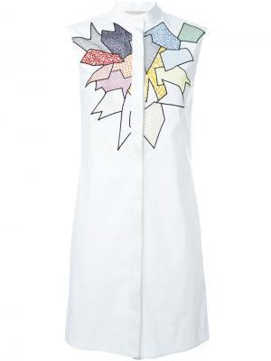 Платье-рубашка в стиле пэчворк Christopher Kane. Цвет: красный