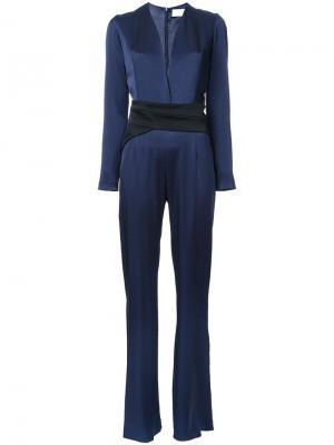 Contrast waistband jumpsuit Galvan. Цвет: синий