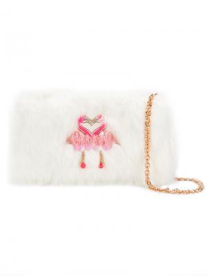 Сумка на плечо с аппликацией фламинго Sophia Webster. Цвет: белый