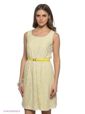 Платье SELA. Цвет: белый, салатовый
