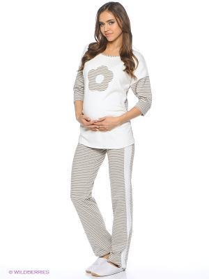 Комплект для беременных (джемпер+брюки) FEST. Цвет: молочный, серый