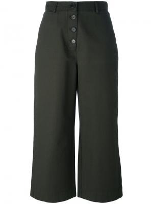 Укороченные брюки с высокой талией Proenza Schouler. Цвет: зелёный