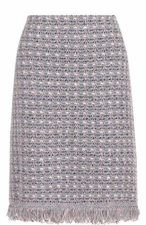 Буклированная юбка-миди с бахромой St. John. Цвет: разноцветный