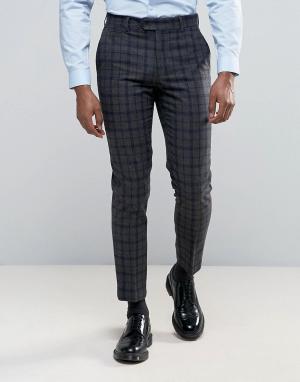 Harry Brown Серые узкие брюки в темно-синюю и серую клетку. Цвет: серый