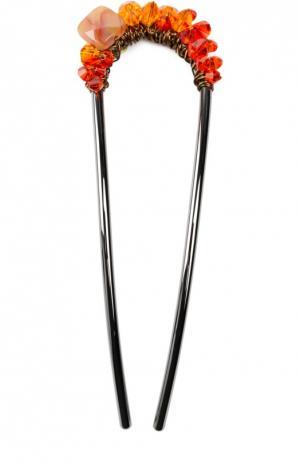 Заколка для волос Colette Malouf. Цвет: оранжевый