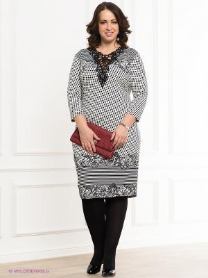 Платье VERDA. Цвет: молочный, черный