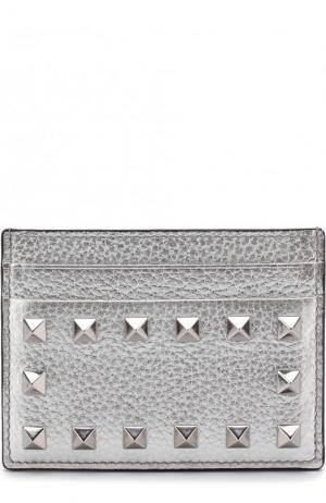 Кожаный футляр для кредитных карт  Garavani Rockstud Valentino. Цвет: серебряный